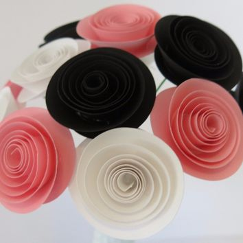 "black, pink and white paper flower centerpiece, one dozen long stem 1.5"" roses on 8"" stems, handmade wedding decorations, home and office"