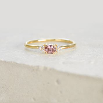 Dainty Oval Ring - Gold + Rhodolite