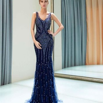 Navy Blue Evening Dresses Beaded Crystal Luxury Mermaid Sweep Train Empire Waist Cut Out Prom Formal Gowns