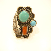 Vintage Turquoise Coral Sterling Silver Ring Sterling Turquoise Ring Green Turquoise Sterling Ring Turquoise Silver Coral Native American