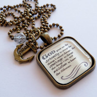 Serenity Prayer Necklace - God Grant Me The Serenity - Inspirational - Christian Jewelry -  Prayer Pendant - The Serenity Prayer - 002