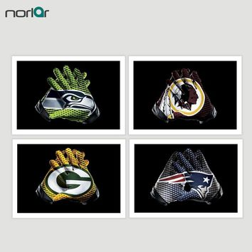 Football Gloves Canvas Painting Green Bay Packers Eagles  Broncos Washington Redskins Wall Art Sports Posters  Art Print