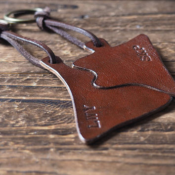 Engraved Couples Leather Keychain Set - custom puzzle handmade, valentines day gift, for him, for her, personalized name, key ring #Brown
