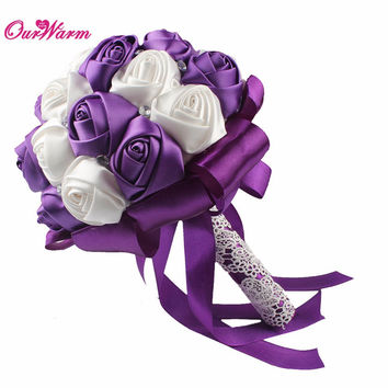 Artificial Flower Rose Silk Flowers for Wedding Decoration Fake Flowers Handmade Wedding Bouquet Decorative Flowers