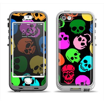 The Vivid Vector Neon Skulls Apple iPhone 5-5s LifeProof Nuud Case Skin Set