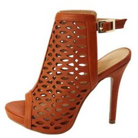 Laser Cut-Out Peep Toe Heels by Charlotte Russe - Tan