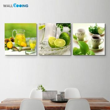 New canvas decorative painting wall art painting green fruit Fruit plate pictures Kitchen restaurant decorative painting summer