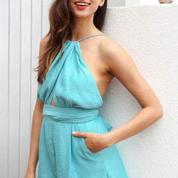 Sexy backless bluish green romper