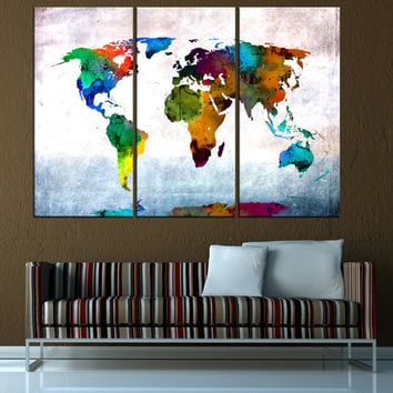 large world map wall art canvas print, modern home decor,  canvas art, watercolor art print, office decoration extra large wall art,  t567