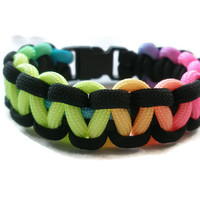 Neon And Black Paracord Survival Bracelet