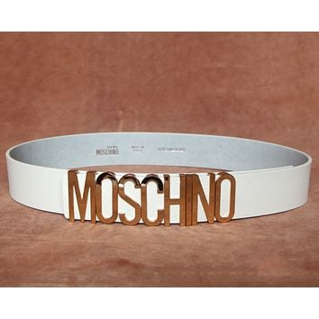 MOSCHINO New Fashion Trendy Wild Women's Litchi Belt F0269-1 gold buckle white belt