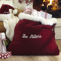 SANTA CLAUS VELVET HAT & BAG