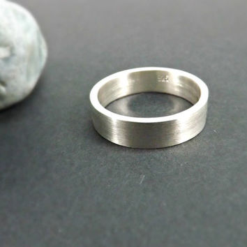 silver ring modern wedding ring 5mm to 7mm wide mens ring handmade jewelry light or dark rustic wedding ring