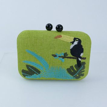 Toucan Embroidered Straw Clutch in Green Summer Beach Bag