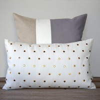 Colorblock & Studded Pillow Set - (20x20) Gray Colorblock and (12x20) Gold Stud by JillianReneDecor - Modern Home Decor - Paloma