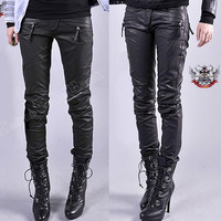 Punk Armor Biker Motorcycle Racing Vegan PU Faux Leather Slim Cigarette Pants