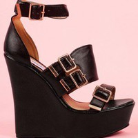 Zak Buckle Leather Wedges In Black - Footwear