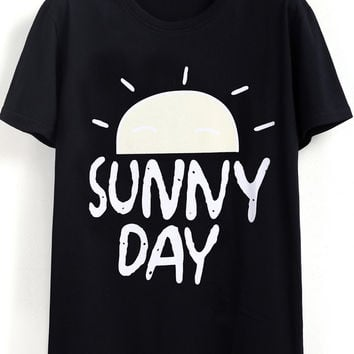 Black Sunny Day Print Short Sleeve Graphic T-shirt