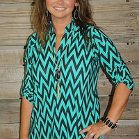 Try and Catch Me Chevron Top in Jade