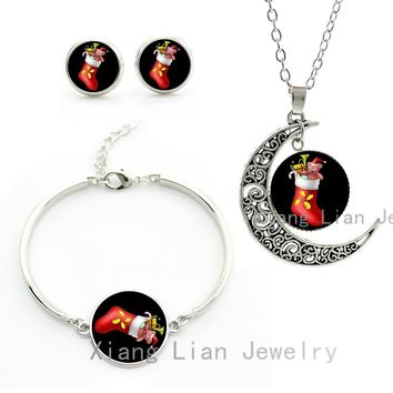 New Year Fashion Christmas Boots necklace earrings bracelet Santa Claus shoes Christmas stocking women jewelry sets gifts CM58