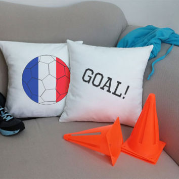 Set of 2 France Soccer Team Pillows - Cotton Canvas Covers and/or Cushions - 14x14 and 16x16