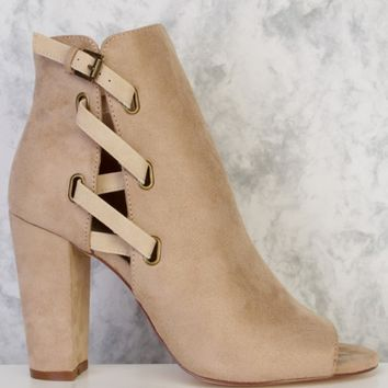 Taupe Side Lace Buckle Detailing Peep Toe Single Sole Chunky Heel Booties Suede