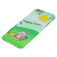 Cute Easter Bunny n chick Coloring Egg + your text Barely There iPhone 6 Plus Case