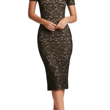 Dress the Population Jemma Lace Off the Shoulder Midi Dress | Nordstrom