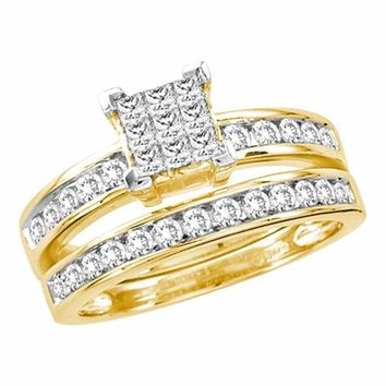 14kt Yellow Gold Women's Princess Diamond Cluster Bridal Wedding Engagement Ring Band Set 1.00 Cttw - FREE Shipping (US/CAN)