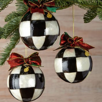 MacKenzie-Childs Small Jester Fancy Ball Christmas Ornaments, Set of 3