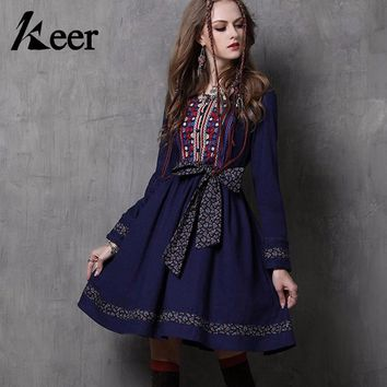 Keer Qiaowa Women Cotton Linen Dress Long Sleeve Knee Length Ethnic Embroidered Fit Flare Dress Retro Vintage Dress 50s 60s