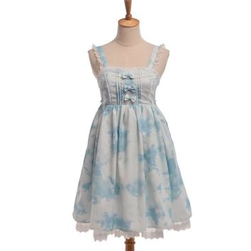 Girls Fairy White Cloud Blue Sky Bows JSK Lace Trim Lolita Suspender Dress