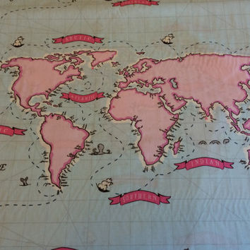 World Map Fabric, By the PANEL, Out To Sea, Nautical Map Panel in Breeze Blue with pink map