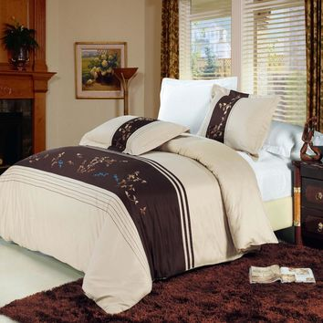Celeste Combed cotton Embroidered Duvet Cover Set