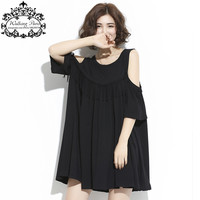 Big Size New Summer Women Dress O-Neck Sexy Off Shoulder Plus Size T-Shirt Dresses Female Cotton Tassel Elegant Black Clothing