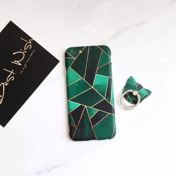 Green geometry phone case for iPhone 7 7plus 6 6S 6plus 6Splus 1107JM01