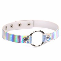 Trendy holographic choker PU Leather Chocker Handmade Metal Laser chocker  Rainbow Punk Gothic Necklace