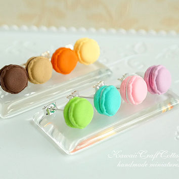 Miniature Macaron, Clay food jewelry earrings, kawaii Cute Wedding Bridesmaid gift, Candy Sweets Pastel colors, handmade polymer clay food
