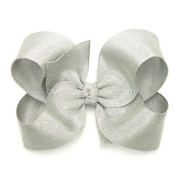 "Silver Hair Bow, Metallic Silver Grosgrain Hair Bow for Girls, 4 inch Boutique Bow, Special Occasion, 4"" Metallic Bow, Baby Toddler Girls"