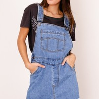 Closing Time denim overalls in dark wash Produced By SHOWPO