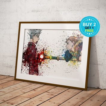 Ban vs King The Seven Deadly Sins Anime, Nanatsu no Taizai, Anime Print, Anime Watercolor, Manga Art, Anime Wall Art, Anime Decor, OC-974