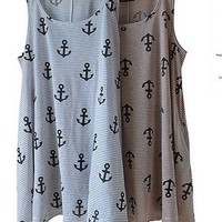 Grey Color upward Navy Pattern Dress [698]