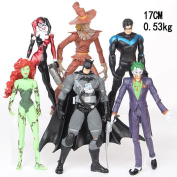 NEW hot 17m 6pcs/set Justice League Joker Batman Poison Ivy Harley Quinn Scarecrow Dick Grayson action figure toys Christmas