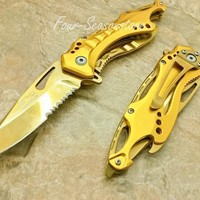 1 X M-teach Assisted Opening ALL Goldgold Titanium Coating Aluminum Handle Rescue Tactical Stainless Steel Blade for Hunting Camping Outdoor Knife - Gold