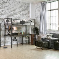Olga I collection antique black finish metal frame industrial inspired style twin over workstation bunk bed set