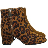Mood05 Snake Two Tone Bootie - Womens Square Toe Low Platform Ankle Boots