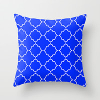 Moroccan Peacock Blue Throw Pillow by House of Jennifer