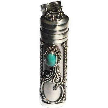 Sterling Silver Large Turquoise Cylinder Pill Prayer Box Pendant