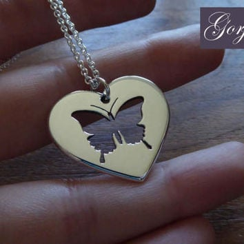 Butterfly in Heart Silver Pendant Necklace