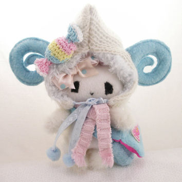 Kawaii  plush Candy Rabbit-doll with fluffy rams-hood and accessories (made to order)